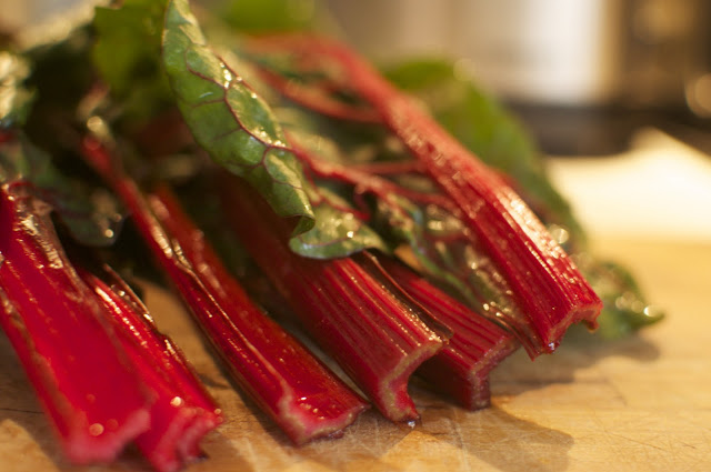 Recipe: Every meal a miracle: Rhubarb Red Swiss Chard with lots of Garlic