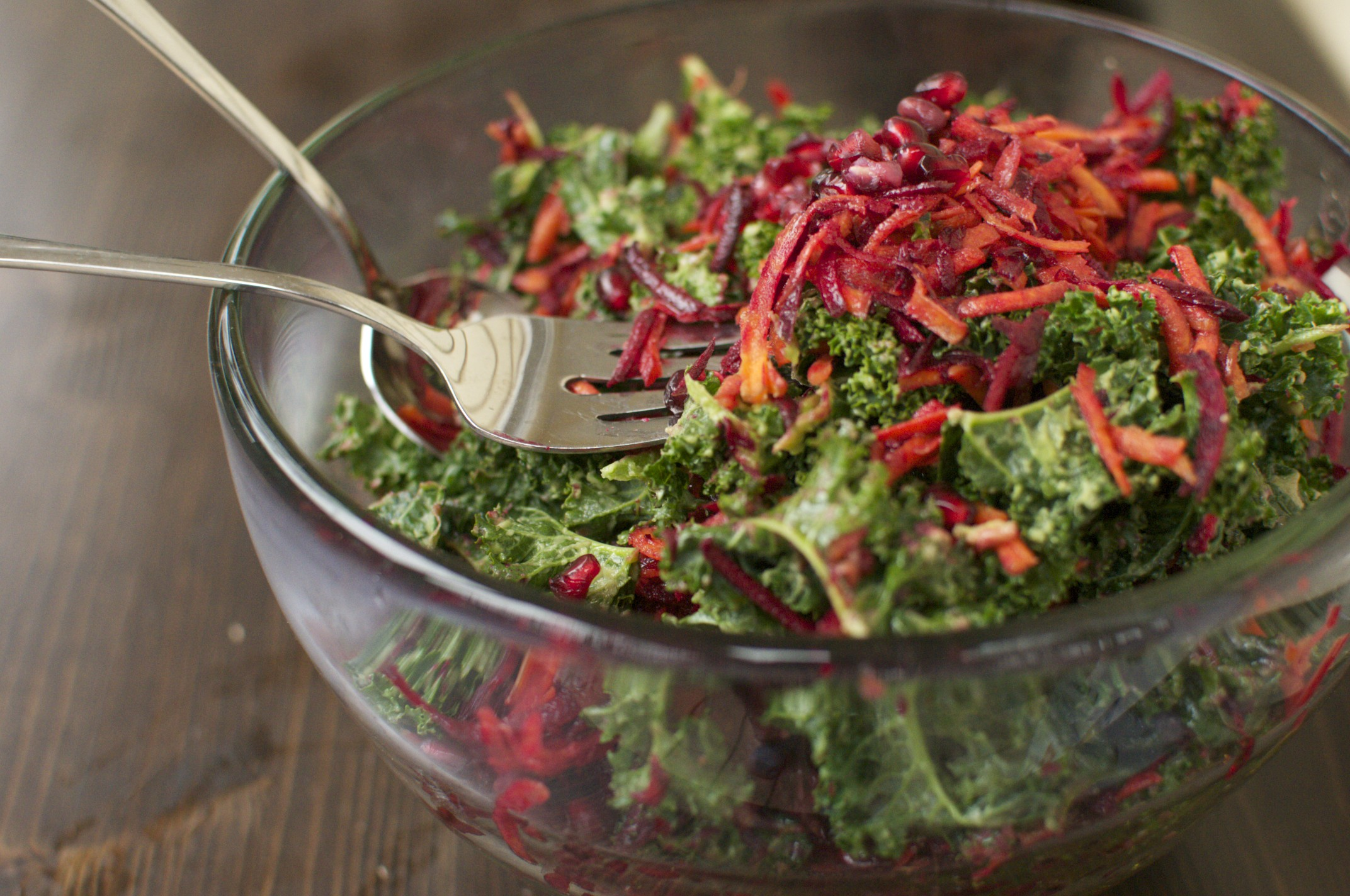 Raw Kale Beet Carrot and Pomegranate Salad Recipe