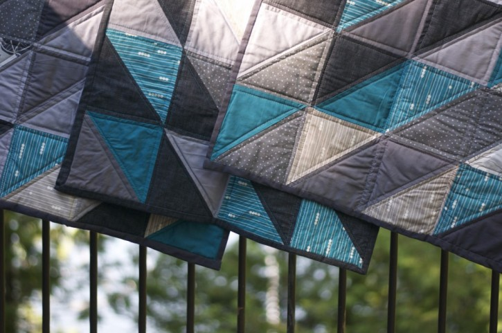 3 Little Organic Quilts in Teal and Grey
