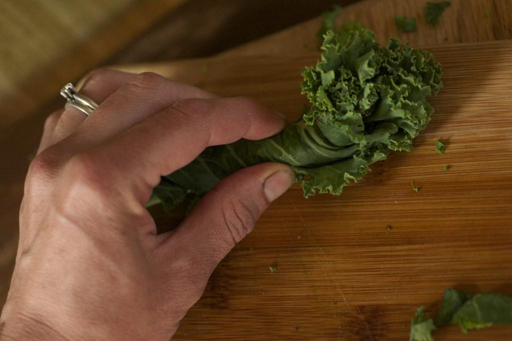 Chopping Kale Chiffonade www.CubitsOrganics.com