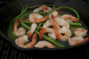 garlic scapes and shrimp