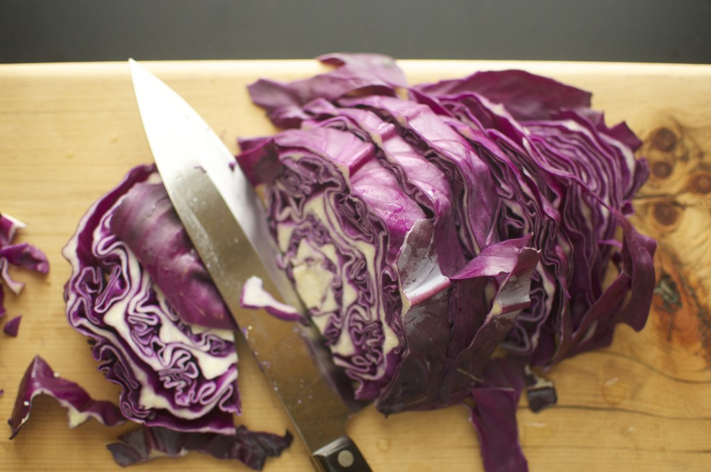 Chopping purple Cabbage www.cubitsorganics.com