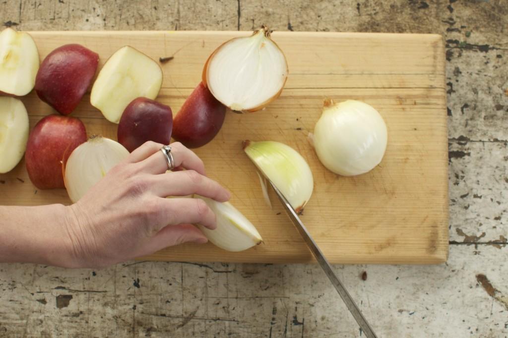 Chop apples and onions www.cubitsorganics.com