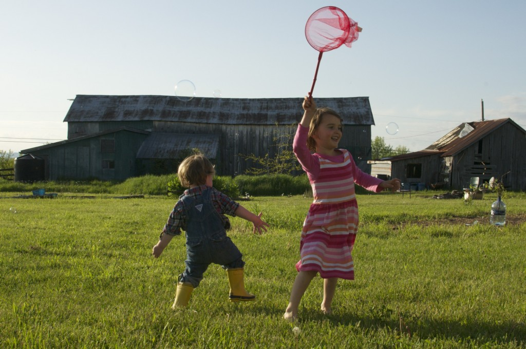 catching bubbles at the farm www.cubitsorganics.com